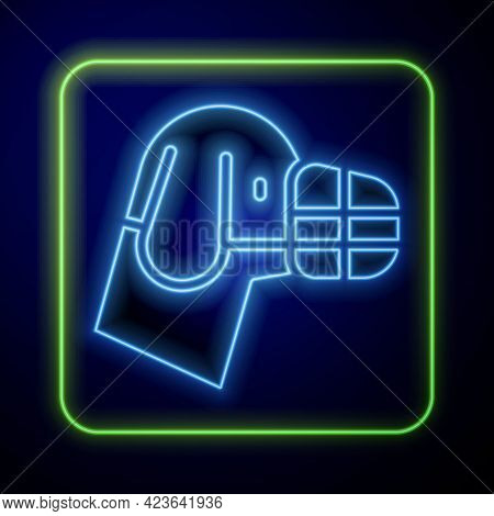 Glowing Neon Dog In Muzzle Icon Isolated On Blue Background. Accessory For Dog. Vector