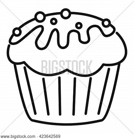 Cupcake Icon. Outline Cupcake Vector Icon For Web Design Isolated On White Background