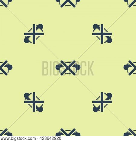 Blue No Junk Food Icon Isolated Seamless Pattern On Yellow Background. Prohibited Hot Dog. No Fast F