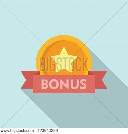 Bonus Coin Icon. Flat Illustration Of Bonus Coin Vector Icon For Web Design