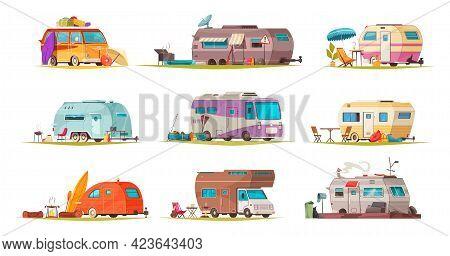 Camping Vacation Recreational Vehicles Flat Cartoon Set Camper Caravan Trailer Bus House On Wheels I