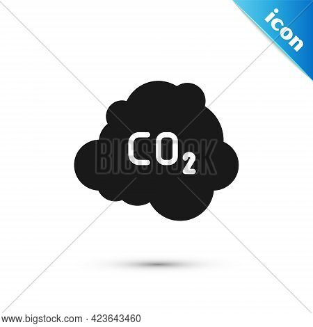 Grey Co2 Emissions In Cloud Icon Isolated On White Background. Carbon Dioxide Formula, Smog Pollutio
