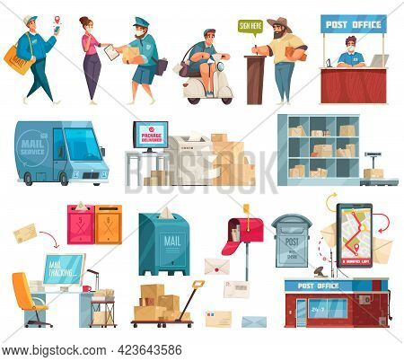 Post Office Cartoon Set With Postal Delivery Van Postman Motorcycle Courier Parcels Mailbox Letterbo