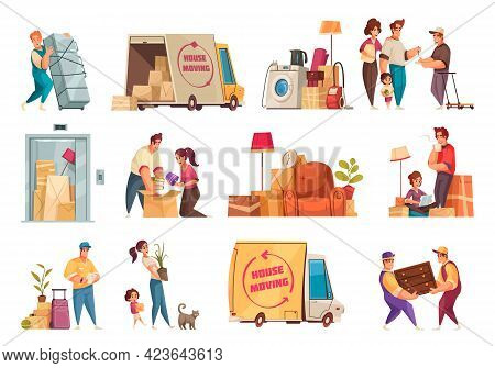 Moving New House Packing Family Belongings Carrying Plant Relocation Service Furniture Transportatio