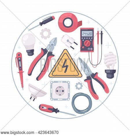 Electrician Cartoon Round Composition With Isolated Images Of Manual Tools Power Plugs Sockets And V