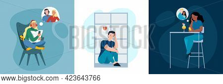 Lonely And Together Love Design Concept Flat Isolated Vector Illustration