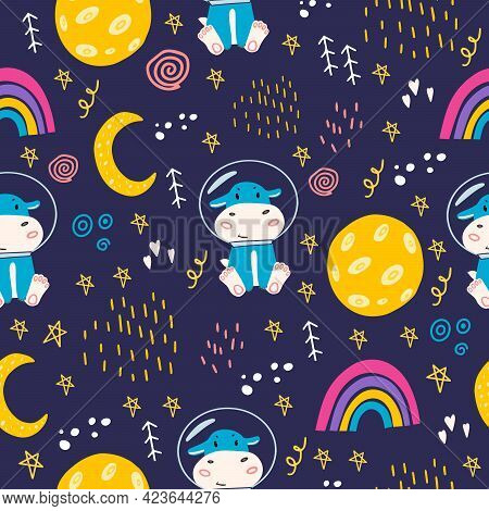 Seamless Pattern With Hippo, Moon, Stars, Space, Rainbow. Cute  Hippopotamus In A Space Suit In Spac