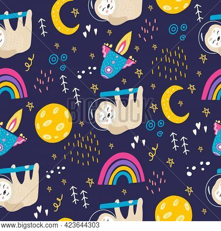 Seamless Pattern With Sloth, Moon, Stars, Space, Rainbow. Cute Sloth In A Space Suit In Space. Vecto