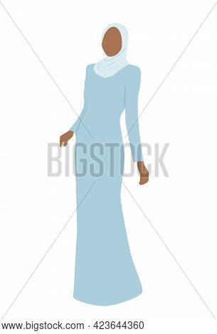 Muslim Woman In Dress. Beautiful Bride In Hijab. Modern Vector Illustration Isolated On White Backgr