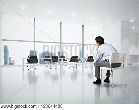 Young Businessman Focused On His Thoughts, Concentrating On The Task