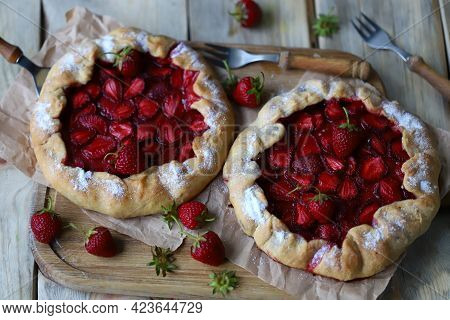 Strawberry Galette. Homemade Cakes With Strawberries. Summer Desserts.