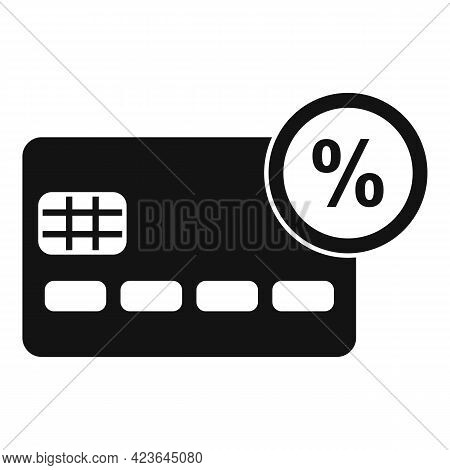 Credit Card Percent Bonus Icon. Simple Illustration Of Credit Card Percent Bonus Vector Icon For Web