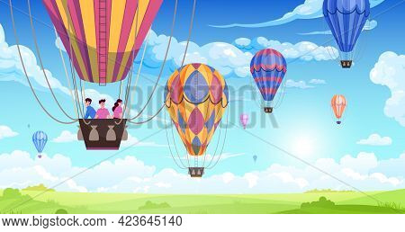 People In An Aerostat Travel Across The Sky, Accompanied By Other Air Balloons Flat Vector Illustrat