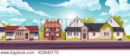 Horizontal Panorama Of Suburban Houses Of Holiday Village With A Shining Sky In The Background Flat