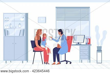 Kind Female Pediatrician Examining Girls Throat Flat Vector Illustration