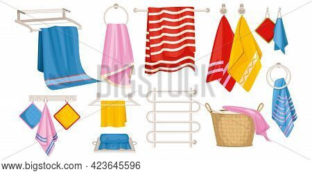 Towel Set With Isolated Icons Of Hanging Towels With Pot Holders On Hooks And Pipe Coil Vector Illus