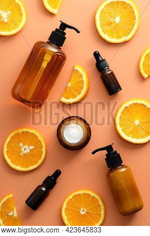 Natural Cosmetics Set With Vitamin C Extract Top View. Organic Products, Beauty And Spa Concept