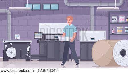 Printing House Polygraphy Cartoon Colored Composition With Employee Carries Paper And Color Printer