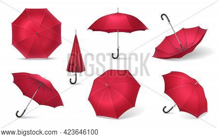 Seven Red Realistic Umbrella Icon Set With Different Sides Of Umbrella Canes On White Background Vec