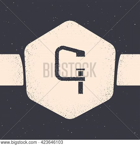 Grunge Clamp And Screw Tool Icon Isolated On Grey Background. Locksmith Tool. Monochrome Vintage Dra