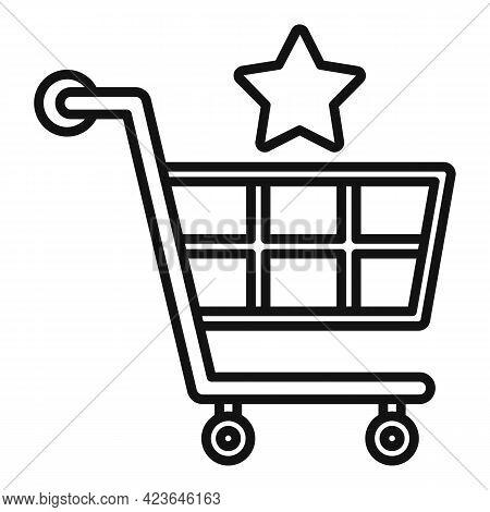 Sale Bonus Shop Cart Icon. Outline Sale Bonus Shop Cart Vector Icon For Web Design Isolated On White