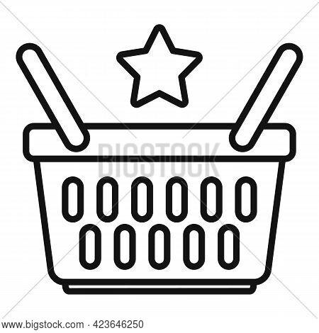 Sale Bonus Basket Icon. Outline Sale Bonus Basket Vector Icon For Web Design Isolated On White Backg