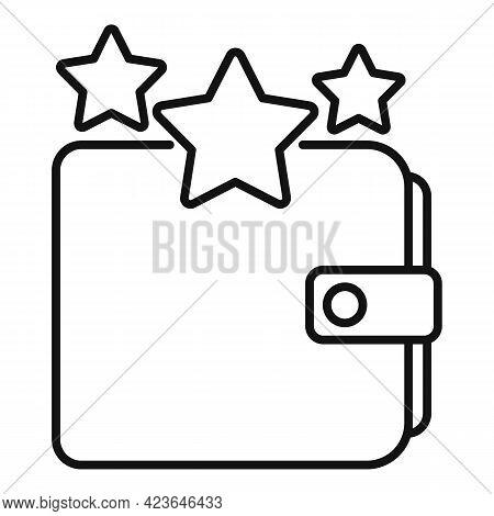 Sale Bonus Star Wallet Icon. Outline Sale Bonus Star Wallet Vector Icon For Web Design Isolated On W