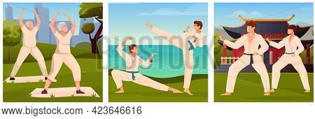 Martial Arts Flat Illustrations With Old People Involved In Qigong And Young Guys And Girls Training
