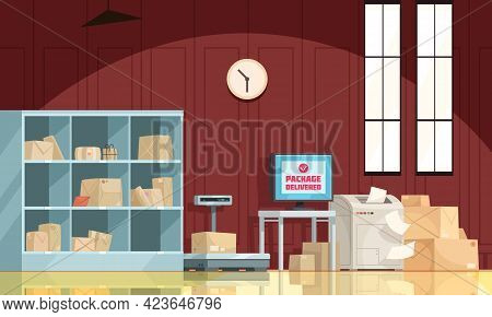 Post Office Interior With Delivered Packages Storage Parcel On Scales Declarations Falling From Prin