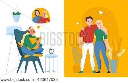 Lonely And Together Love Composition With Relationship Symbols Flat Isolated Vector Illustration