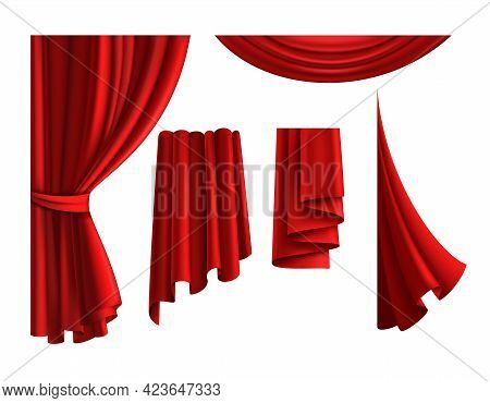 Red Curtains. Realistic Velvet Drapery Element. 3d Classic Scarlet Textile Cloth For Windows And The