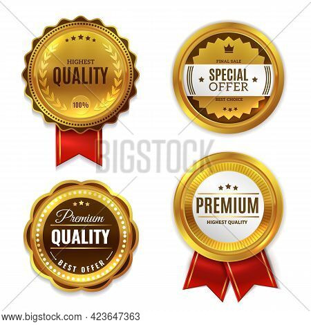 Seal Quality Labels Gold Badges. Sale And Discount Golden 3d Medals With Red Ribbons, Premium Stamps