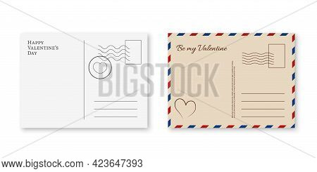 Valentines Postcard. Romantic Postage Cards With Stamps. White And Beige Paper Back And Front Side,