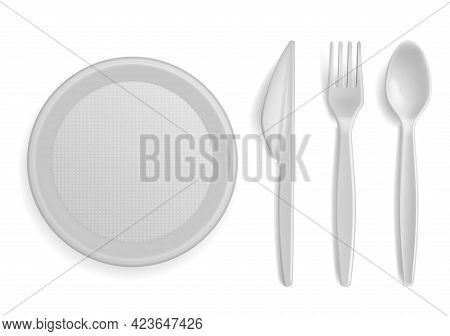 Plastic Tableware. Realistic Disposable Serving Kitchen Utensil. 3d Plate And Cutlery. Empty Bowl. T