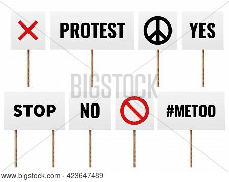 Protest Posters. Realistic Banners Of Protester People On Political Strike. Peace, No War And Mee To