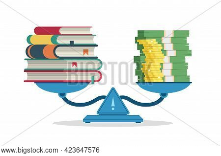 Education Costs. Measure On Scales Value Of Knowledge And Money. Cartoon Weigher With Stack Of Books