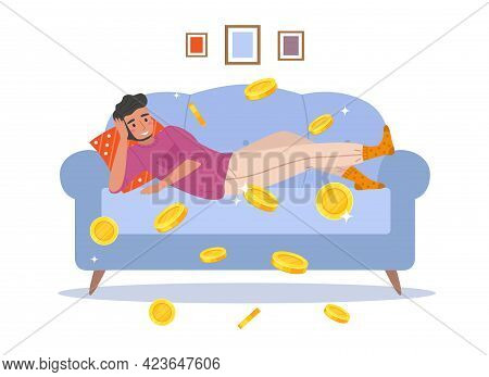 Passive Income. Cartoon Man Earns Money Relaxing At Home. Young Male Lying On Couch And Falling Gold