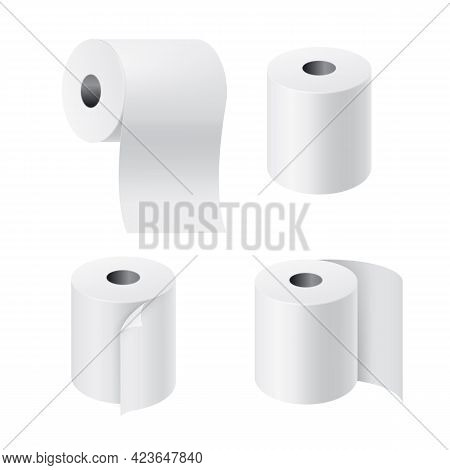 Realistic Rolls Paper. 3d Toilet Tissues With Unwound Pieces. Hygiene Toiletry Products Set. Blank R