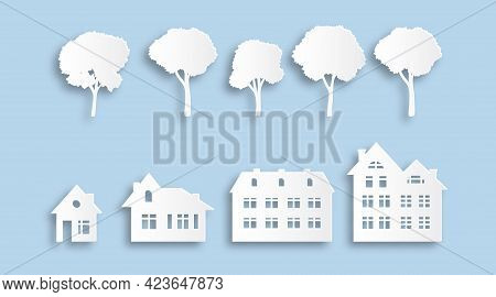 Suburban Buildings And Trees. Paper Cut Houses. Various Isolated White Homes And Plants Template. De