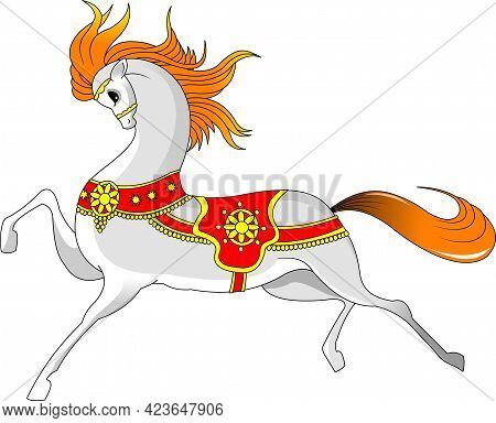 Beautiful White Horse. Running Horse. Vector And Illustration