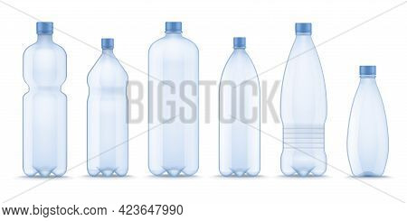 Realistic Water Bottle. Plastic Containers For Mineral, Carbonated And Soft Beverages. 3d Blank Tran