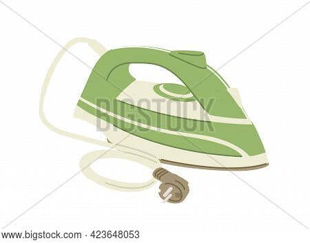 Side View Of Steam Iron Press With Cord And Plug Isolated On White Background. Domestic Electric App