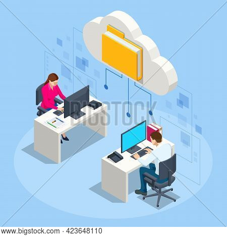 Isometric Cloud Technology. People Working From Office. Global Outsourcing, People Using Cloud Syste