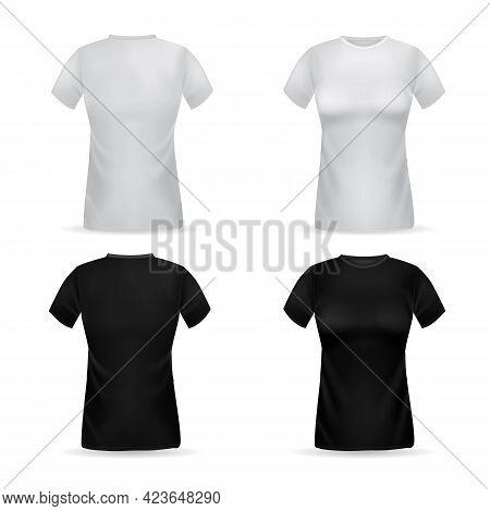 T-shirt. Realistic Female Top Garment. 3d Black Or White Women Clothes. Front And Back View Of Cotto