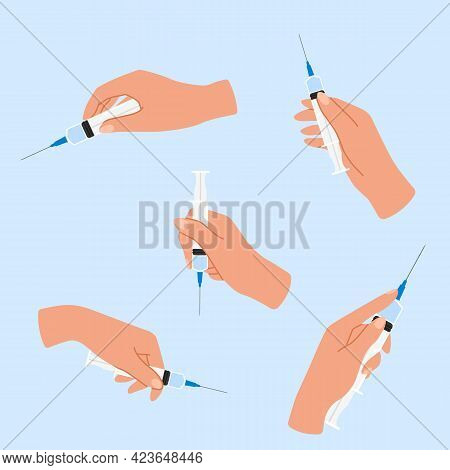 Syringe In Hand. Arms Hold Injectors. Doctors Vaccinate Patients. Coronavirus Prevention. Human Limb
