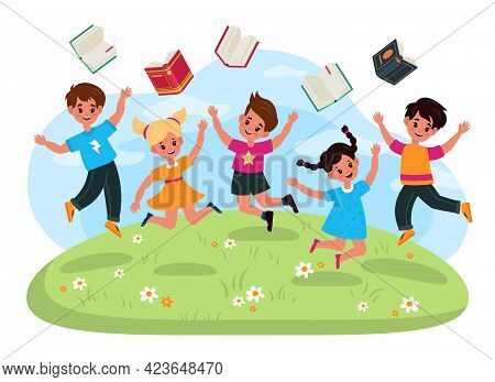 Vacation. End Of Study. Jumping Children Throw Books. Cartoon Boys And Girls Enjoy School Holidays.