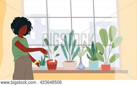 Window With Plants. Cartoon Woman Watering Houseplants. Female Grows Flowers On Windowsill. Girl Tak