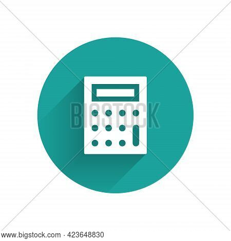 White Calculator Icon Isolated With Long Shadow. Accounting Symbol. Business Calculations Mathematic