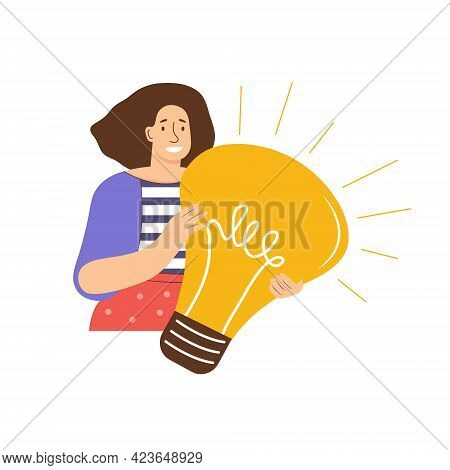 Woman Holds A Large Light Bulb In Her Hands. New Creative Idea, Problem Solved, Creative Thinking, S