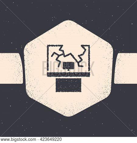 Grunge Broken Window Icon Isolated On Grey Background. Damaged Window. Beaten Windowpane Concept. Va